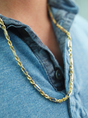 4mm Milano 14K Two Tone Gold Rope Chain