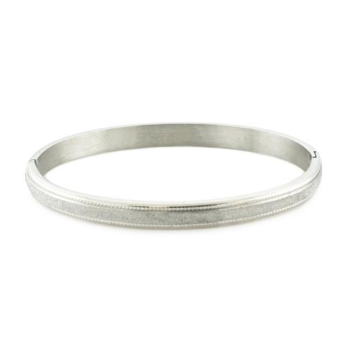 Glittering Satin Finish Oval Bangle Bracelet