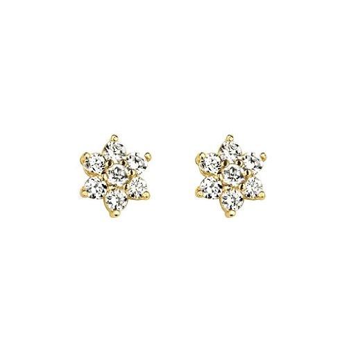 White Flower CZ 14K Yellow Gold Plated Stud Earrings