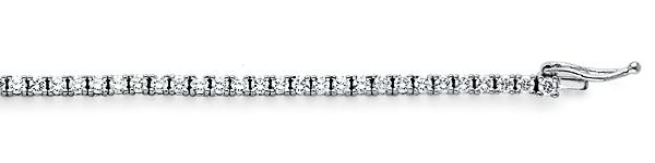 1.5mm Round-Cut Cubic Zirconia CZ Tennis Bracelet - 14K White Gold
