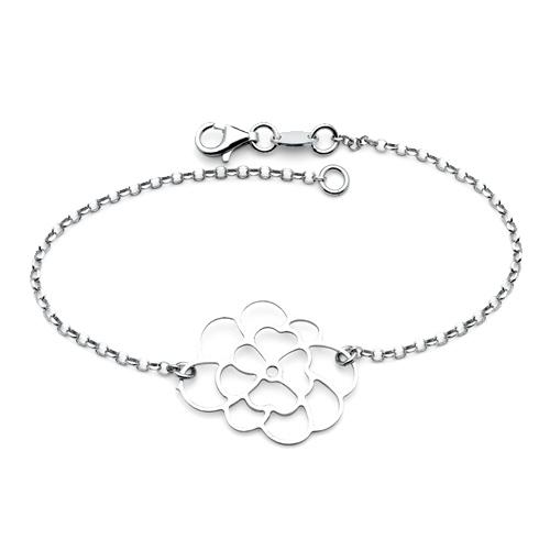 Floating Open-Cut Flower Charm Link Sterling Silver Bracelet