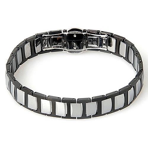 Folded Link Two-Tone Black Tungsten Bracelet
