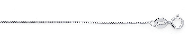 0.5mm 14K White Gold Box Chain Necklace