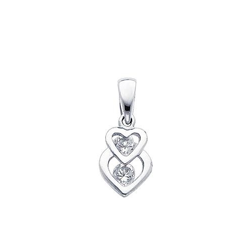 Intertwining 14K White Gold CZ Hearts Pendant