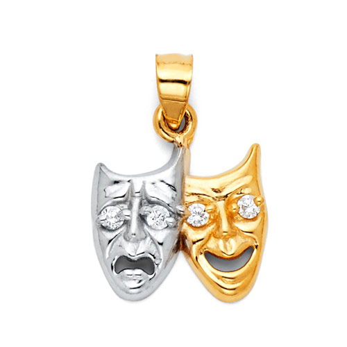 Small Tragedy Comedy Drama Mask CZ Charm Pendant in 14K Two Tone Gold