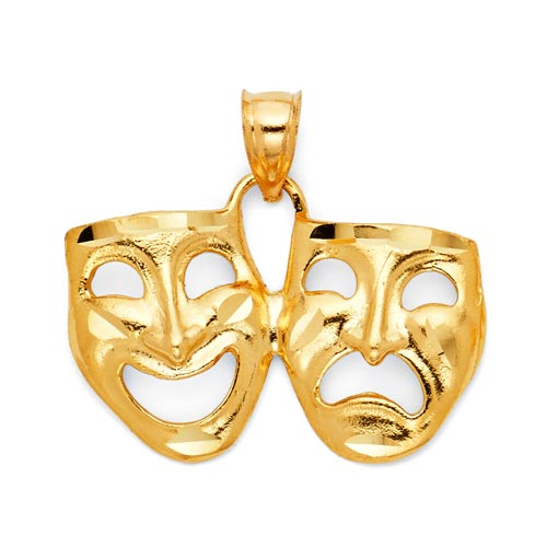 Comedy Tragedy Drama Mask Pendant in 14K Yellow Gold