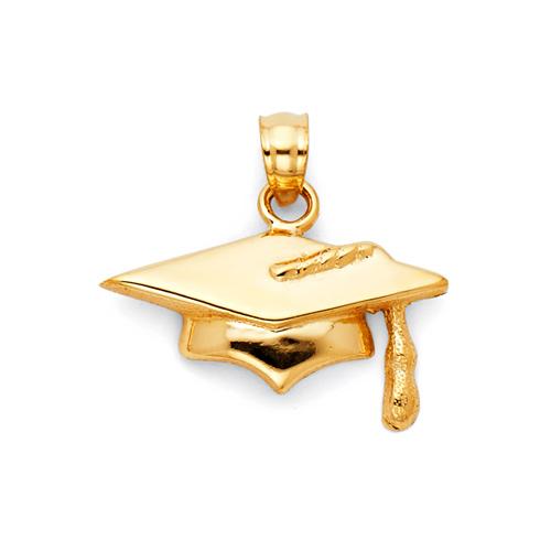 Small Graduation Cap Charm Pendant - 14K Yellow Gold 19mm x 12mm