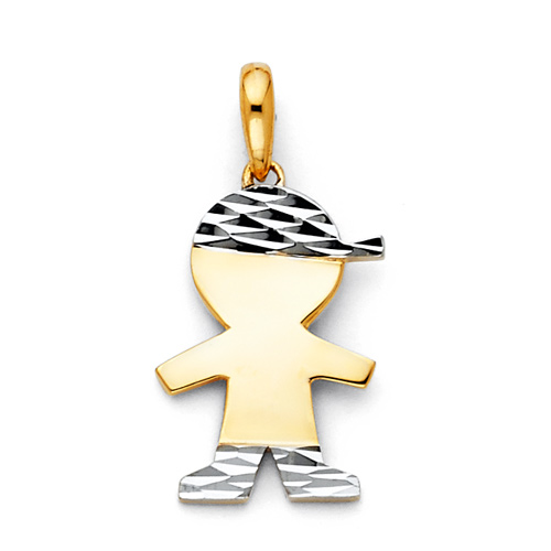 Faceted Capped Little Boy Charm Pendant in 14K Two Tone Gold