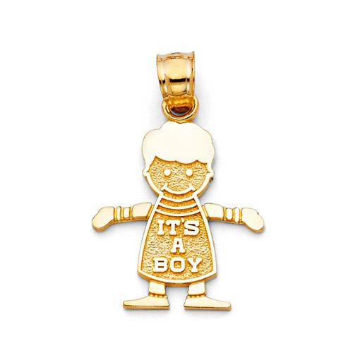 Its a Boy Charm 14K Yellow Gold Pendant