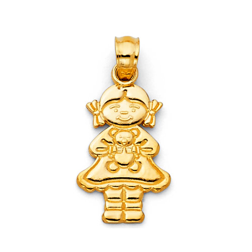 Girl With Teddy Bear 14K Yellow Gold Charm Pendant