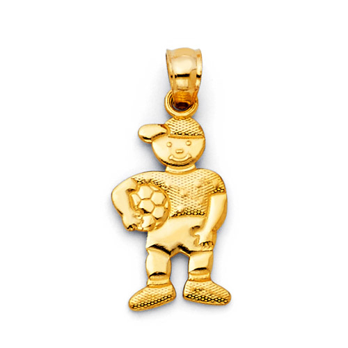 Boy With Soccer Ball 14K Yellow Gold Charm Pendant