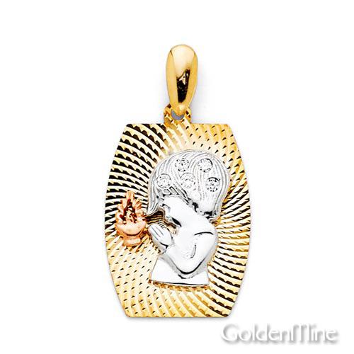 Praying Boy Faceted 14K Tri Gold Charm Pendant