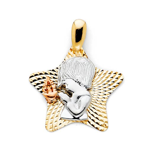 Praying Boy Faceted Rounded Star 14K Tri Color Gold Charm Pendant