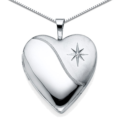 Engraved Star Diamond Accent Heart Locket Necklace in Sterling Silver
