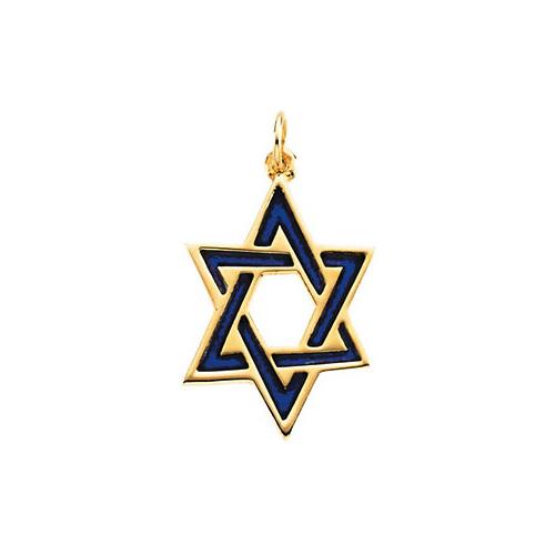 14K Yellow Gold Medium Blue Enamel Star of David Pendant