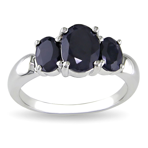 Sterling Silver 3 Stone Black Sapphire  Ring