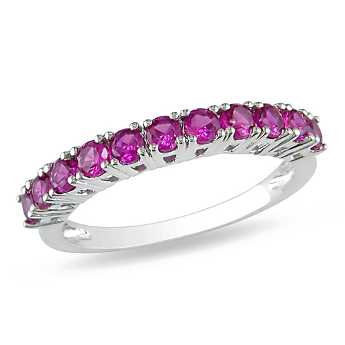 Sterling Silver Created Ruby Ring
