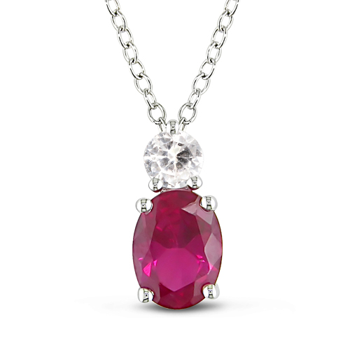 Sterling Silver Created Oval Ruby  White Sapphire Pendant