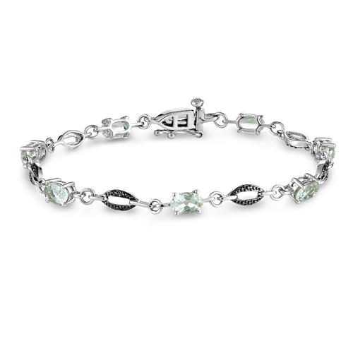 Sterling Silver Green Amethyst Bracelet