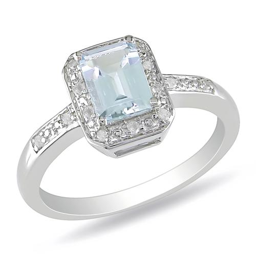 Sterling Silver Diamond  Aquamarine Ring