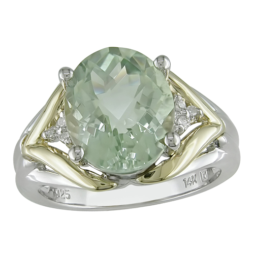 14K Yellow Gold  Silver Green Amethyst Ring with Diamond Accents