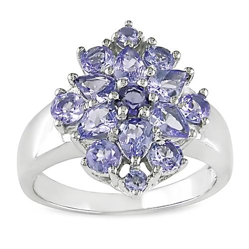 Sterling Silver Diamond Flower Tanzanite Ring