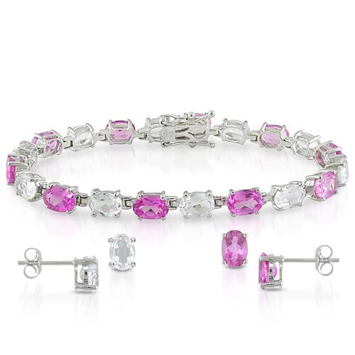 Sterling Silver Created Oval Pink Sapphire  White Topaz Bracelet Set