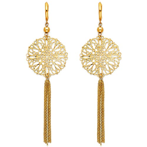 Long Filigree Tassel Earrings in 14K Yellow Gold 87mm
