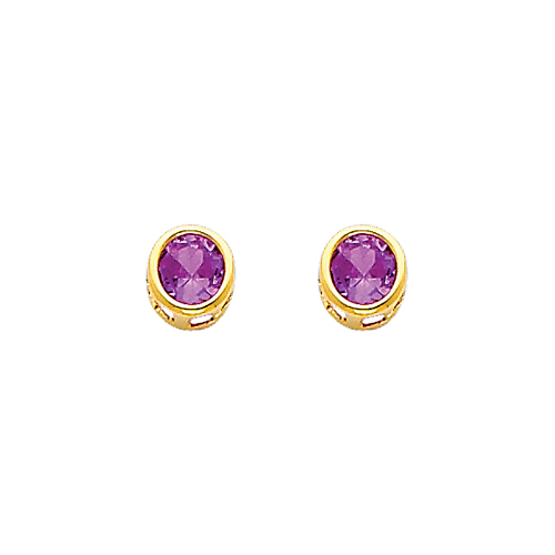 14K Yellow Gold Round Amethyst CZ February Birthstone Stud Earrings