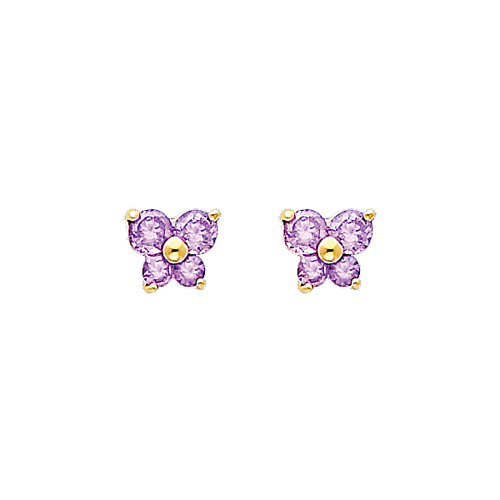 14K Yellow Gold Alexandrite CZ June Birthstone Butterfly Stud Earrings