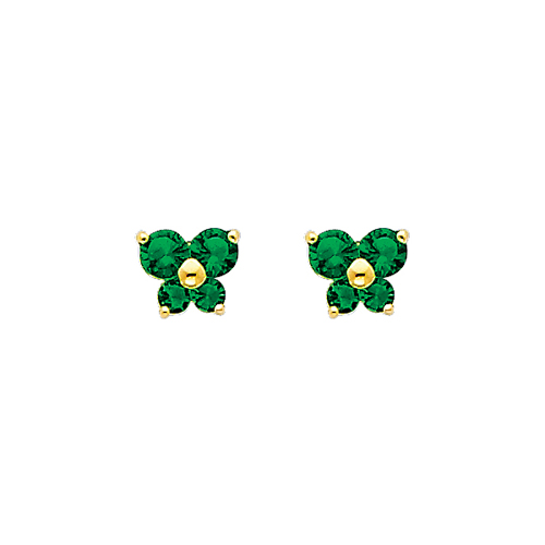 14K Yellow Gold Emerald CZ May Birthstone Butterfly Stud Earrings