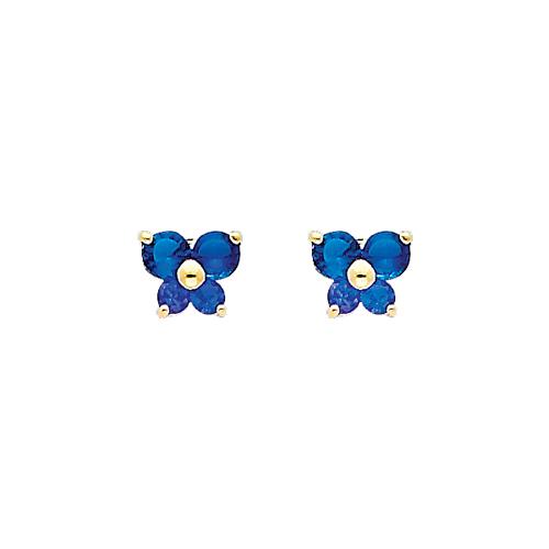 14K Yellow Gold Sapphire CZ September Birthstone Butterfly Stud Earrings