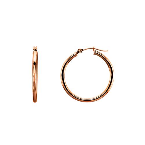 Small Classic 14K Rose Gold Hoop Earrings 2x25mm