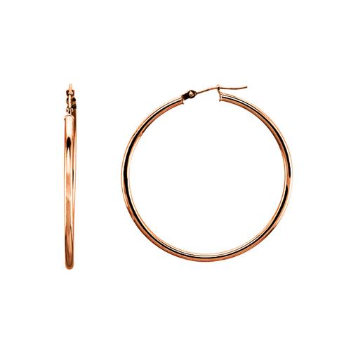 Medium Classic 14K Rose Gold Hoop Earrings 2x40mm