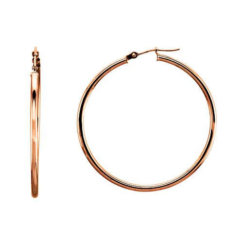 Large Classic 14K Rose Gold Hoop Earrings 2x48mm