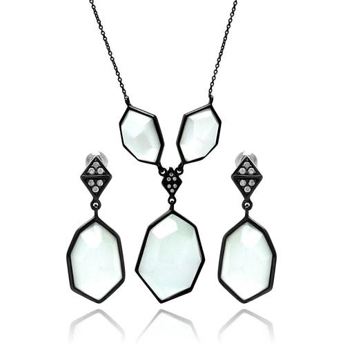 Large White CZ and Black Art Deco Style Necklace Set