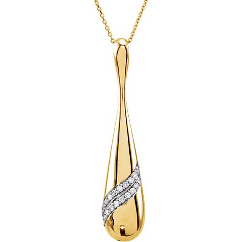 14K Yellow Gold Diamond Teardrop Necklace - Women 18in