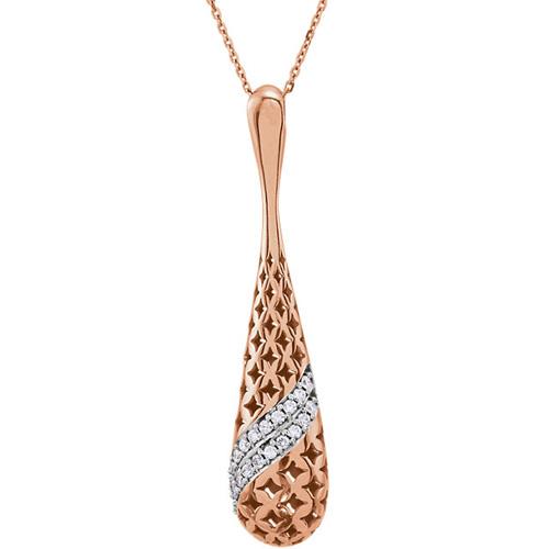 14K Rose Gold Cut-Out Diamond Teardrop Necklace