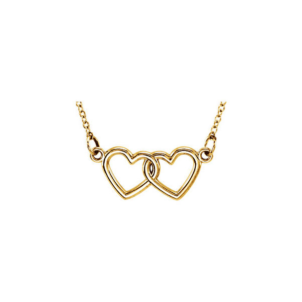14K Yellow Gold Floating Infinity Double Heart Pendant Necklace 18in