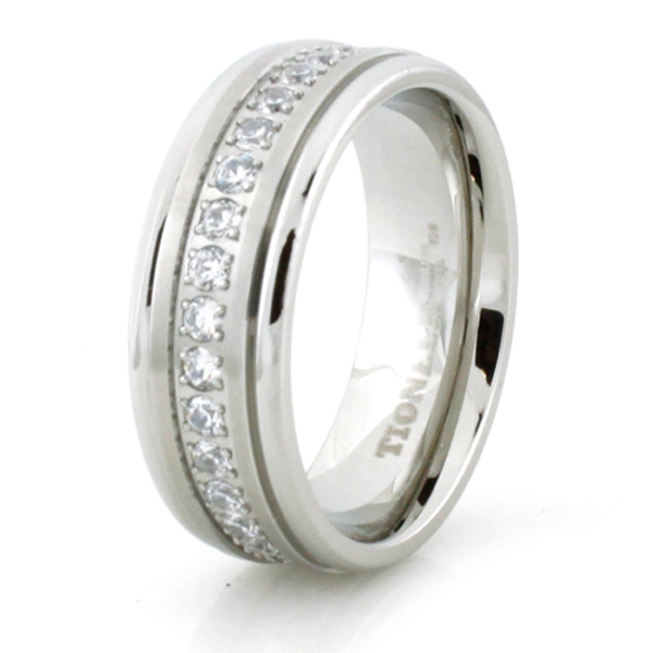 High Polish  Satin Finish Stainless Steel CZ Ring Band 8mm