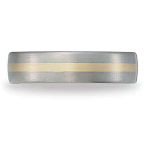 6mm 18K Yellow Gold Inlay Titanium Wedding Ring by Benchmark