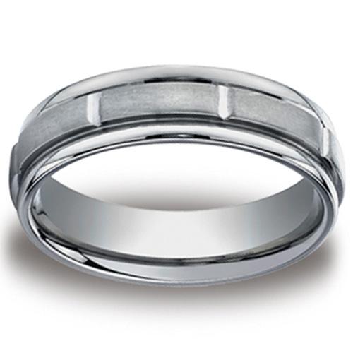6mm Brushed and Polished Titanium Benchmark Ring