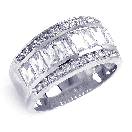 Ladies Round  Emerald Cut CZ Sterling Silver Ring Band
