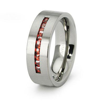 Channel Set Garnet Color Princess CZ Titanium Ring