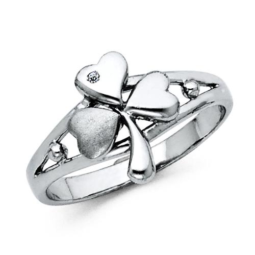 Shamrock CZ Womens Sterling Silver Ring