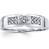 14K White Gold Round Diamond Men's Wedding Band