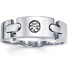 Link Design 14K White Gold Diamond Wedding Band