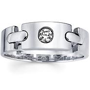 link design 14k white gold diamond ring