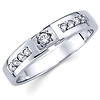 14K White Gold Round Diamond Women's Wedding Band