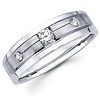 Three Stone 14K White Gold Diamond Wedding Ring